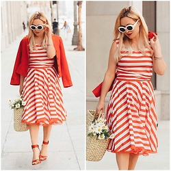Zia Domic - Katarina Dzale Striped Dress, Tara Jarmon Red Blazer - Red on Red on Red.