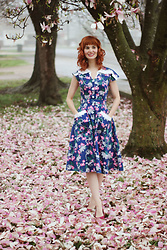 Bleu Avenue - Unique Vintage Dino Land Navy Swing Dress - Dino Land Vintage Dress