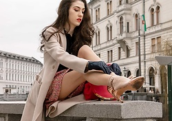 Veronika Lipar - Storets Pink Mini Tweed Skirt, Stuart Weitzman Rose Gold High Shine Sandals, Short Socks, L'agence Black Button Down Shirt, Maxmara Off White Wool Coat - Is it Socks and Sandals or Socks with Sandals?