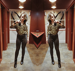 Alex MacEachern - Nasty Gal Leopard Print Shirt, Topshop Black High Waisted Skinny Jeans, Primark Black Pleather Heeled Boots - Lost In The Heat Of It All.