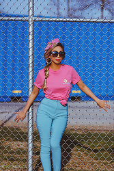 Eliza Romero - Converse For Asos Tee, Asos Skinny Fit High Waist Pants, Asos Pineapple Hair Scarf, Quay On The Prowl Sunnies, Forever 21 Gold Bamboo Earrings - Totally Awesome 80s