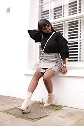 Abimbola Ogunsanya - Zaful Ruffle Jumper, Very Plaid Skirt, Primark Sock Boots - Get your ruffles on