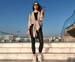 Christy Jaldori - Axparis Duster Jacket, Stradivarius Faux Leather Pants, Bershka Eyewear, Nike Sneakers - You're my heaven but maybe I'm your hell