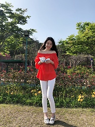 Mavis Ng - H&M Red Off The Shoulder Top, H&M White Slim Ankle Jeans - Spring is coming