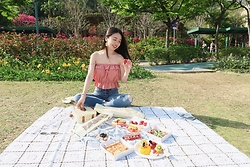 Mavis Ng - Shopaholic952 Red Checked Off Shoulder Top, Hollister Lace Jeans - Sweet picnic❤️