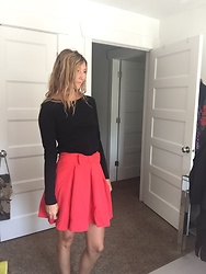 Cindy Batchelor - Red Bow Pleated Circle Skirt, Black Long Sleeved Tee - Black Long Sleeved Tee and Red Bow Pleated Circle Skirt