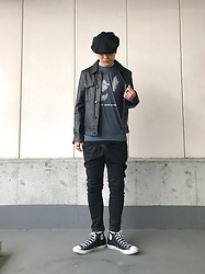 ★masaki★ - Newyork Hat Casquette, Ch. Leather Jacket, David Bowie Heroes, R13 Denim Xover, Converse Hi - Just for oneday…