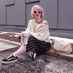 Jessie Barber - Vans Old Skool Lace Up Sneakers, Thrifted Striped Pants, Unif Sweater, Madewell Fest Aviators, Coach Vintage Bag, Ettika Grecian Glory Hoops - Milkshakes