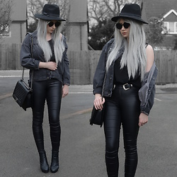 Sammi Jackson - Primark Black Fedora, Zaful Sunglasses, Grey Denim Jacket, Oasap Quilted Flap Bag, Choies Double Buckled Belt, Primark Satin Jeans, Office Chunky Boots - GREY DENIM