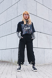 RuiJun L - Charlie Temple Transparent Glasses, Aliexpress Checkered Turtle Neck, River Island Fake Shirt, Aliexpress Zipper Pants, Aliexpress Sneakers - F 4 K 3