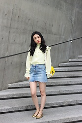 Seoha Park -  - FRILL BLOUSE AND DENIM SKIRT