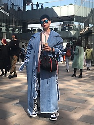 Joyce Chang - Pony Stone Denim Coat, Louis Vuitton Trainers - Street girl