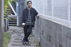 Hideki. Mn - Roundabout L/S Open Coller Wide Shirt, Roundabout Rayon Poncho, Bernabeu Open Sleeve C/S, Bukht Slit Leather Pants, Roundabout Leather Sandal - Japanese fashion 67