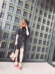 Minya L - Murua Skirt, Gucci Bag, Grkc Tshirt - Black and red never go wrong