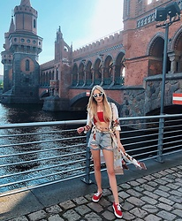 Laura Simon - Vans Red, Topshop Blue Shorts, Gucci White Belt, Asos Red Crop Top, Rinascimento White Kimono, Topshop White Glasses - Spring vibes in Berlin