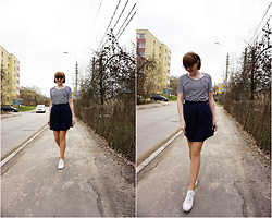 Yana Bezdushna - Bgn T Shirt, Hand Made By Bezdushna Skirt, Sneakers - Hand made skirt