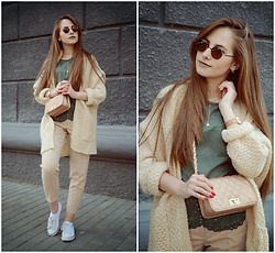 Daria Plyonkina - Shein Blouse, Rosegal Cardigan, Zaful Bag - Green