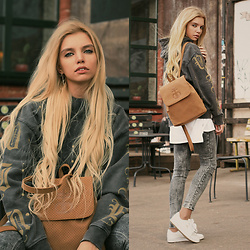 Ekaterina Normalnaya - Drop Dead Win Or Die Hoodie, Drop Dead Sandy Beige Cache Backpack, Mango Acid Wash Jeans - Win or Die