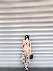 Cassey Cakes - Topshop Bustier, Zaful Pants, Mango Bag - Spring Florals