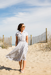 Lindsey Puls - Unique Vintage Dress, Salt Water Sandals, Quay Sunglasses - Gingham Shirtdress for the Beach