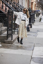 Lauren Recchia - Tibi Jacket, Zara Skirt, Isabel Marant Buckle Belt, Saint Laurent Boots - Buckle up