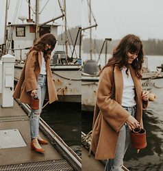 Tonya S. - Max Mara Coat, Simon Miller Bucket Bag, Everlane Day Heel - Camel Coat by the Coast