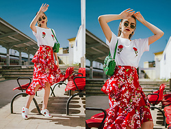 Andreea Birsan - Red Floral Midi Skirt, White T Shirt, Green Shoulder Bag With Studs And Stones, Oval Sunglasses, Gold Hoop Earrings, White Sneakers - Where to find the most versatile floral skirt