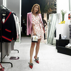 Rekay Style - Brandon Maxwell Pink Blazer, Lovers+Friends Dot Wrap Dress, The Volon Box Bag, Prada Red Pumps - Pink & Red