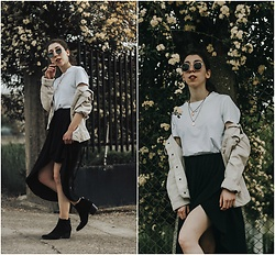 Theoni Argyropoulou - Stradivarius White T Shirt, H&M White Denim Jacket, Pull & Bear Wrap Skirt, Bershka Ankle Boots, Zaful Necklaces - Summer dresses to Fall in love on somethingvogue.com