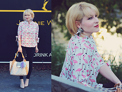 Anca Varsandan - Zaful Flamingo Shirt, Zaful Earrings, Louis Vuitton Bag, Reserved Nude Heels, Primark Jeans - Pink Flamingos