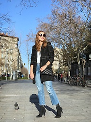 Colourvibes Blog - Zara Black Coat, Zara Jean, Zara Sock Boots, Chanel Bag - Chanel vibes