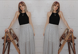 Alex MacEachern - Nasty Gal Black Halter Neck Crop Top, H&M White And Black Spot Maxi Skirt - I Look Like All You Need.