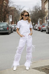Lauren Recchia - Kith Tee, Blindness Official Pants, Manolo Blahnik White Booties, Saint Laurent Sunglasses - Sheer Obsession
