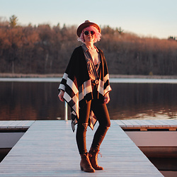 Jessie Barber - Madewell High Rise Denim, The Frye Company Courtney Lace Ups, Calvin Klein Plaid Border Poncho, Yellow 108 Hat, Madewell Fest Aviators, Free People Blouse, J Crew Belt - The Dock