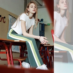 Dasha - Zara Top, Stradivarius Trousers, Nike Sneakers - School