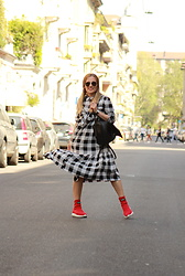 Eniwhere Fashion - Shein Check Dress, Gioselin Red Shoes, Sammydress Black Backpack - How to wear a check dress