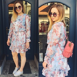 Matylda - Mohito Dress, Zara Backpack - Baby blue and pink