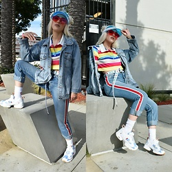 . . - Reebok Sneakers, Fashion Nova Crop Top, Zara Jeans, Guess? Visor - Guess?