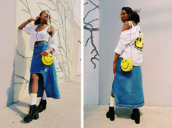 Yara Snow'z - Zara White Smyle Shirt, Pull & Bear Yellow Smyle Bag, H&M Black Boots, Adidas White Socks With Yellow Stripes, Forever 21 Yellow Sunglasses, Forever 21 Kendall+Kylie Denim Maxi Skirt - Smile_0605