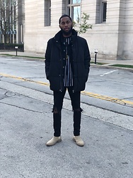 Justin Price - New Republic Houston Suede Chelsea Boots, H&M Black Ripped Skinny Jeans, Forever 21 Black T Shirt, Forever 21 Black Denim Jacket, H&M Puffer Jacket - It was all black everything.