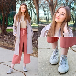 Taylor Doucette - Aritzia Trench Coat, Zara Dusty Rose Culottes, Converse Mono Glam Sneakers - All or Nothing - Reuben and The Dark