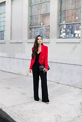 Kat Tanita - Aqua Corset Black Jumpsuit, The Kooples Red Blazer (Similar), Rebecca Minkoff Black Quilted Crossbody (Similar), Stuart Weitzman Ankle Strap High Heels - Dressed up in Downtown