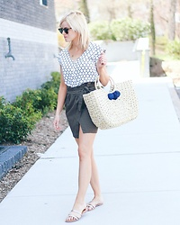 Kim Tuttle - Hat Attack Straw Bag, Nordstrom Paperbag Waist Skirt, Express Silk Tee - Paperbag waist skirt