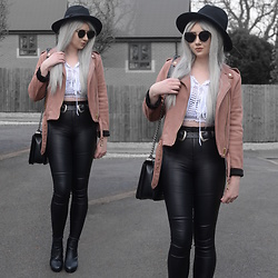 Sammi Jackson - Primark Black Fedora, Zaful Sunglasses, Primark Pink Faux Suede Biker Jacket, Choies Off Shoulder Tie Up Top, Choies Double Buckled Belt, Oasap Quilted Flap Bag, Primark Faux Leather Jeans, Office Chunky Heeled Boots - PINK FAUX SUEDE JACKET