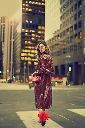 Louise Xin - Rebecca Stella Patent Trenchcoat, Valentino Bag, Prada Feather Shoes - LA Down Town