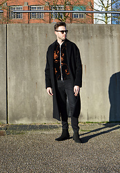 Jordi - River Island Wool Coat, Dries Van Noten Bomber Jacket, H&M Jeans, Filippa K Boots - Embroidered - IG: jordi.stals