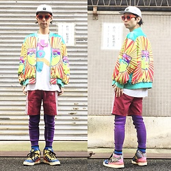 @KiD - Rvca Marble Pattern Cap, Cassette Playa Electro Tee, Vintage Phychederic Jacket, Adidas Short Jersey, Adidas Crazy Pattern Sneaker - JapaneseTrash385