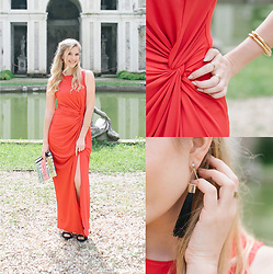 "Cristina Siccardi - Moi.To Red Dress, Zara Black Suede Sandal, Tropical Straw Handbag, H&M Tassel Earrigs - The ""Jessica Rabbit"""