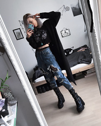 Kimi Peri - Killstar Maleficium Hoodie, Distressed Boyfriend Jeans, Patterned Tights, Killstar Vendetta Boots, Second Hand Turquoise Stone Necklace, Choker, Black Sanctuary I Am Not Complete Top, Solrayz Moonstone Necklace - Maleficium