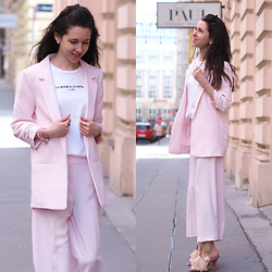 Claire H - H&M Blazer, H&M Pants, Lyvem White Shirt, Zara Mules - Pink Power Suit